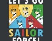 Let's Go Sailor Force - Sailor Moon Voltron  LADIES FIT T-Shirt - Anime Mashup Parody Clothing