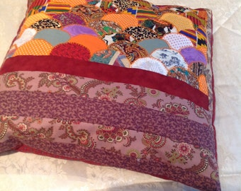 Hand stitched large cushion with clamshell design Indian and Moroccan fabric