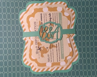 Destination Beach Wedding Invitation Handmade