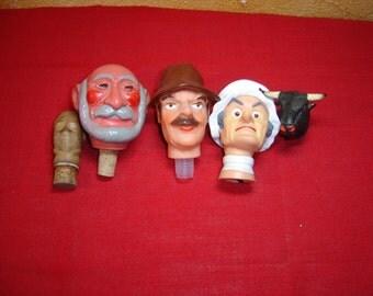 Bouchons personnages. Bottle caps. Bouche bouteille. Vintage.  France