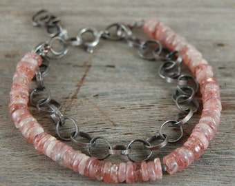 SALE 15% off !! - use the coupon code: SALE15 sunstone silver chain bracelet, metalsmith chain bracelet