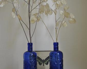 2 decorative blue bottles