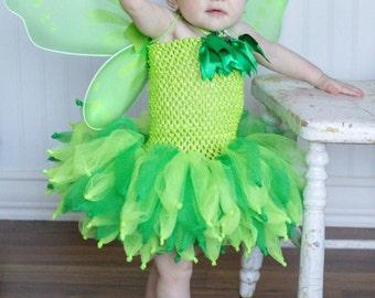 Tinkerbell costume - tinkerbell tutu dress - fairy tutu dress - green fairy - Tinkerbell birthday party - tinkerbell costume - fairy tutu