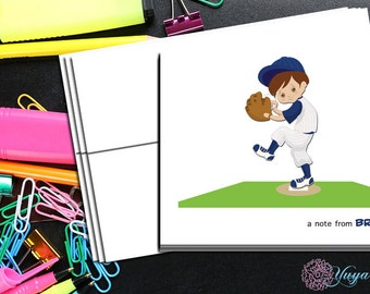 baseball Thank You Cards / baseball pitcher stationery / Baseball Yankee Stationery Set / personalized Boy thank you cards / Set of 12