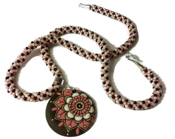 Pink, Brown & White Flower Pendant on a Kumihimo Necklace (v1)