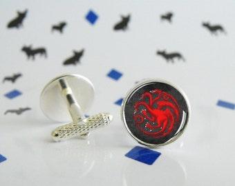 Targaryen - Cufflinks with glass cabochon - Special wedding gift