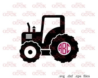 Tractor SVG cut files, Farm Tractor Monogram Frame svg dxf cut files for use with Cricut and Silhouette, svg files