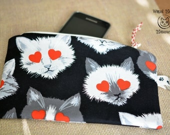 Cat pouch, Pencil case, Make up bag, Cat lover gift, Crazy cat lady, Toiletry bag, Cat with hearts phone case, Zippered pouch, Black wallet