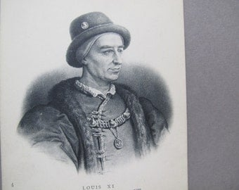 Louis XI postcard / King of France antique postcard / French Etching postcard / ND Phot