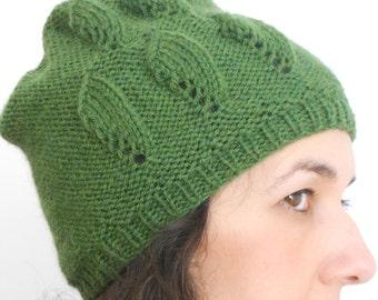 Moss-green knit hat beanie, Women's slouchy hat, Hand knit beanie, Wool hat, Deep green winter hat