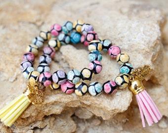Multi-Color Giraffe Pattern Beaded Bracelet
