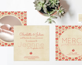 Announcements and stationery birth Pomme d