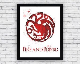 House Targaryen Games of Thrones Watercolor printable, House Targaryen Games of Thrones Wall Art, House Targaryen Games of Thrones poster