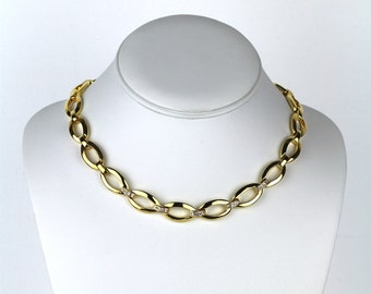 Vintage Gold Tone Metal Link Clear Rhinestone Choker Necklace