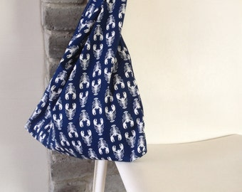 folding tote bag, reusable tote bag, market bag, shopping bag, white and blue cotton bag with lobster print