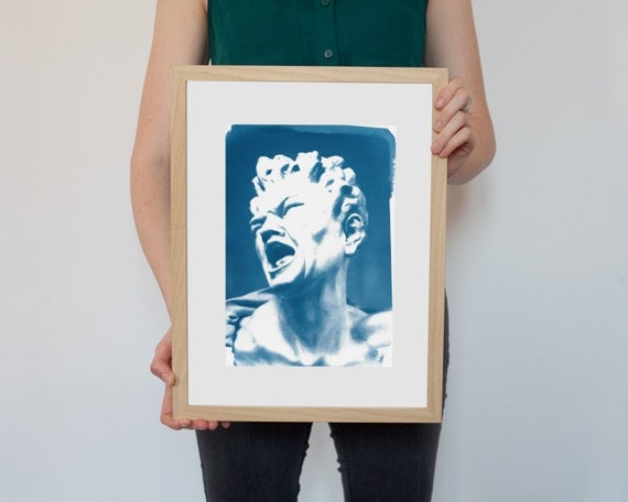 Bernini Damned Soul Sculpture, Cyanotype Expression on Watercolor Paper, A4 size (Limited Edition)