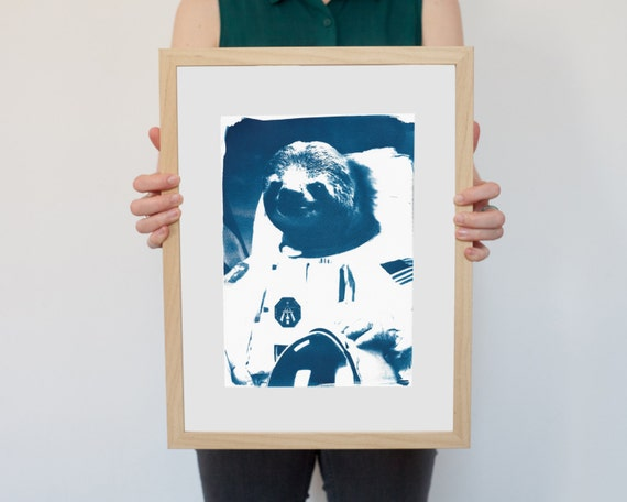 Astronaut Sloth Meme, Animal Cyanotype on Watercolor Paper, A4 size