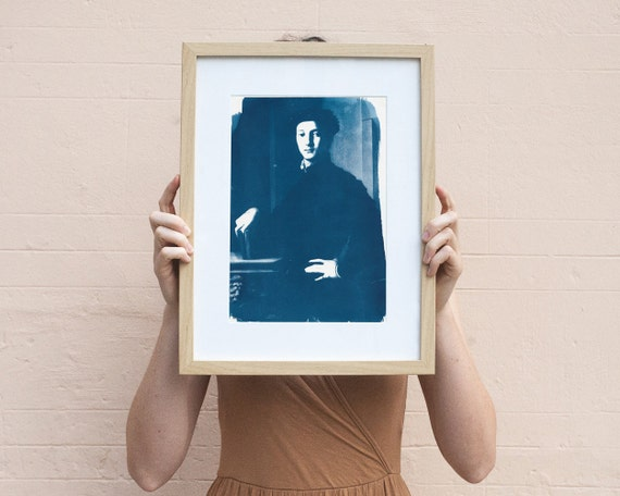 Young Man Portrait of Bronzino, Cyanotype Print on Watercolor Paper, A4 size (Limited Edition)