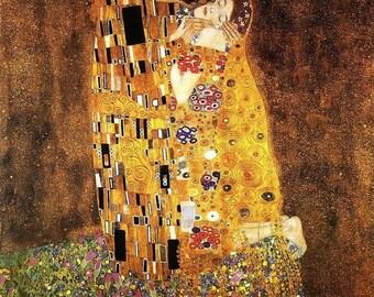 The Kiss Gustav Klimt, Starry Night Van Gogh fabric piece