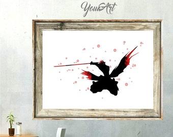 Bleach Ichigo Kurosaki Watercolor Print Art Painting Splash Illustration, Gift, Kids Children Game Anime WC049