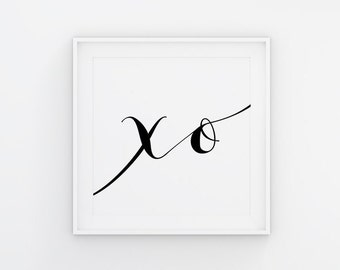 XO Print, Minimalist Art Print, Fashion Art, Black and White, Xoxo Wall Art, Square PRINTABLE Wall Art, Instant Download, Typography Print