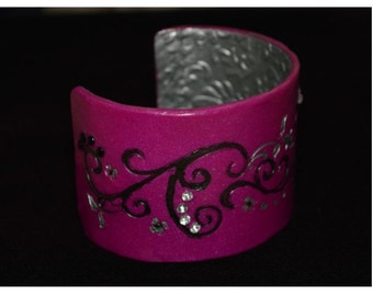Cuff Bracelet, Purple with Black and Silver