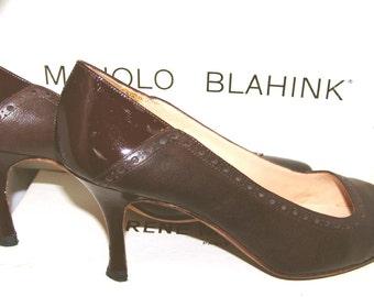 Vintage Manolo Blahnik Brown Pumps Shoes size 37 1/2