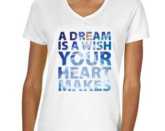 "Cinderella ""A Dream is a Wish Your Heart Makes"" Vneck Tshirt"