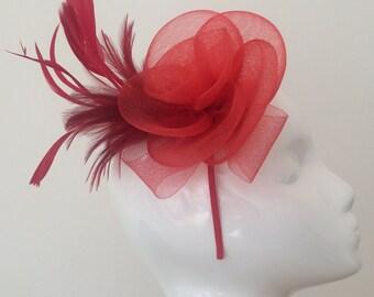 Red Fascinator Headpiece - Wedding Fascinator - Feather - Prom - Flower- Evening - Poppy - Red - Crimson
