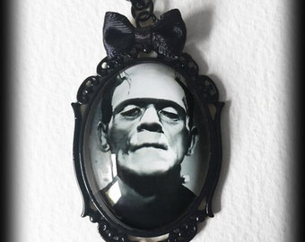 Frankenstein Gothic Necklace, Glass Cameo Pendant, Gothic Horror, Handmade Jewelry, Gothic Gift, Alternative Jewelry, Gothic Jewelry