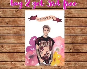 Printable Justin Bieber Card, Funny Justin Bieber Birthday Card, I Beliebe it's Your Birthday, Happy Birthday Bieber Card, Instant Download