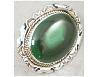 Native American, Vintage, Navajo Sterling Malachite Pin Pendant Belone