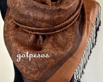 Pashmina Scarf Shawl for Women brown/black