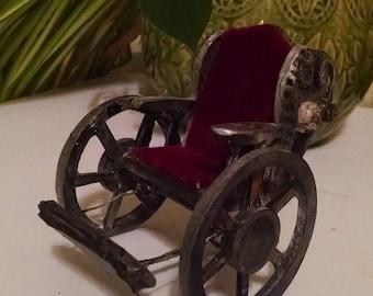 Miniature Wheelchair Vintage Antique Gothic Skull Steampunk Style