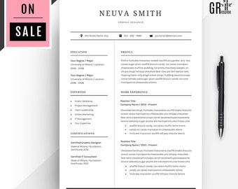 Professional  Resume  CV Template for Microsoft Word (US Letter and A4) 1 & 2 Pages - Coverletter Template - Reference Template + Icon Pack