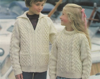 Boy or Girl Aran Sweater and Jacket PDF Knitting Pattern : Childrens / Toddler 22, 24, 26, 28, 30, 32, 34 inch chest . Digital Download