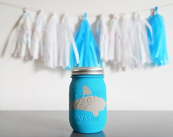 Mason jar piggy bank, money jar, piggy bank, shark lover gift, boy nursery, shark decor, coin bank, piggy banks for boys, shark room decor