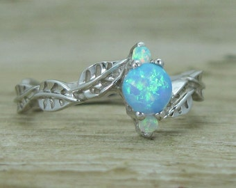 Opal Leaf Engagement Ring, Leaves Opal Engagement Ring, Opal Leaf Ring, Oapl Ring, Natural Floral Engagement Ring, Dainty Opal Vintage Ring