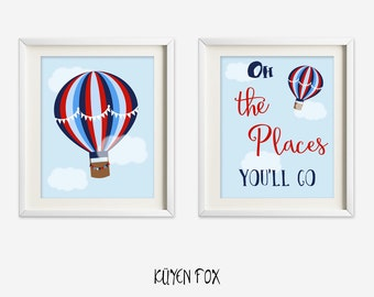 Hot air balloon wall art - blue hot air balloon nursery art - kids wall art - Nursery Decor - blue red hot air balloon print