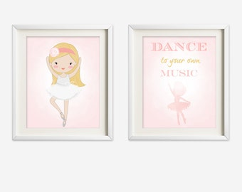 Ballerina wall art - ballerina nursery art - kids wall art - Nursery Decor - pink ballerina - princess ballerina - ballet nursery art