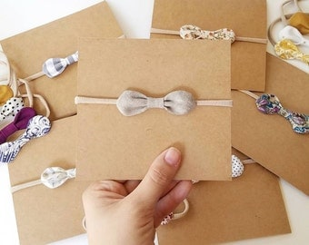petite rounded fabric bows nylon headband,