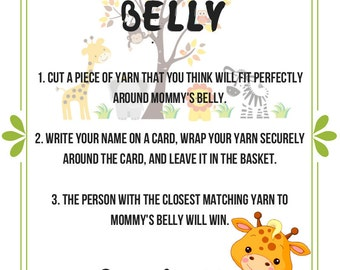 Jungle theme Measure the Belly baby shower game (INSTANT DOWNLOAD)