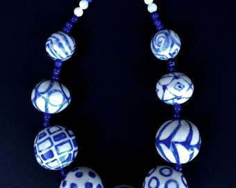 Handmade Royal Blue and White Ceramic Beaded Necklace