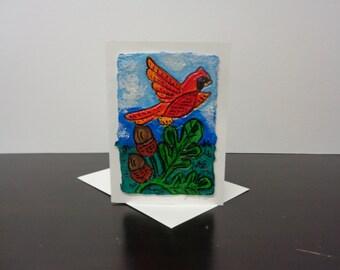 Cardinal on Oaks Card