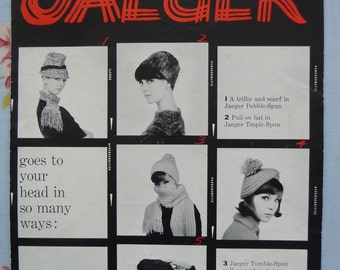Vintage original 1960s Jaeger No. 3854 knitting booklet for 5 hats and 1 scarf