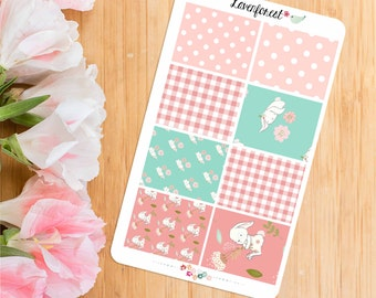 Pink bunny Planner Stickers  stickers  full box stickers   FB005