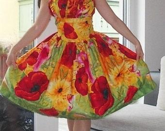 Pinup dress 'Pandorah' border floral dress or poppy dress, PLUS SIZE AVAILABLE, gathered bust dress