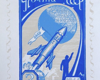 Soviet Rocket Screenprint (blue)