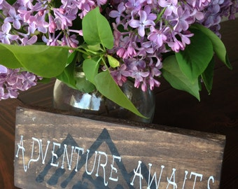 Adventure Awaits Wood Sign, Adventure Sign, Wood Sign