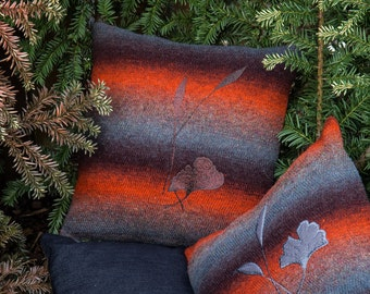 "Pillow ""Lifeblood"" with brown ginkgo tree leafs"